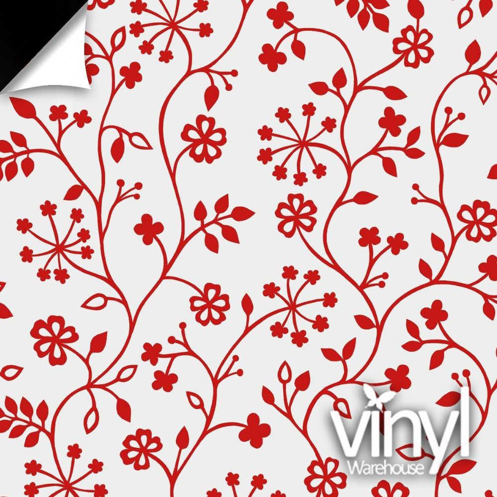 Floral Red Vine Static Decorative Window Film (338-5014) 90cm x 1.5m